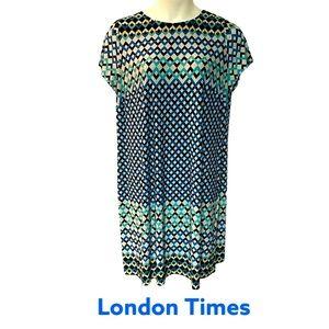 London Times Thin Stretchy Geo Print Shift Dress